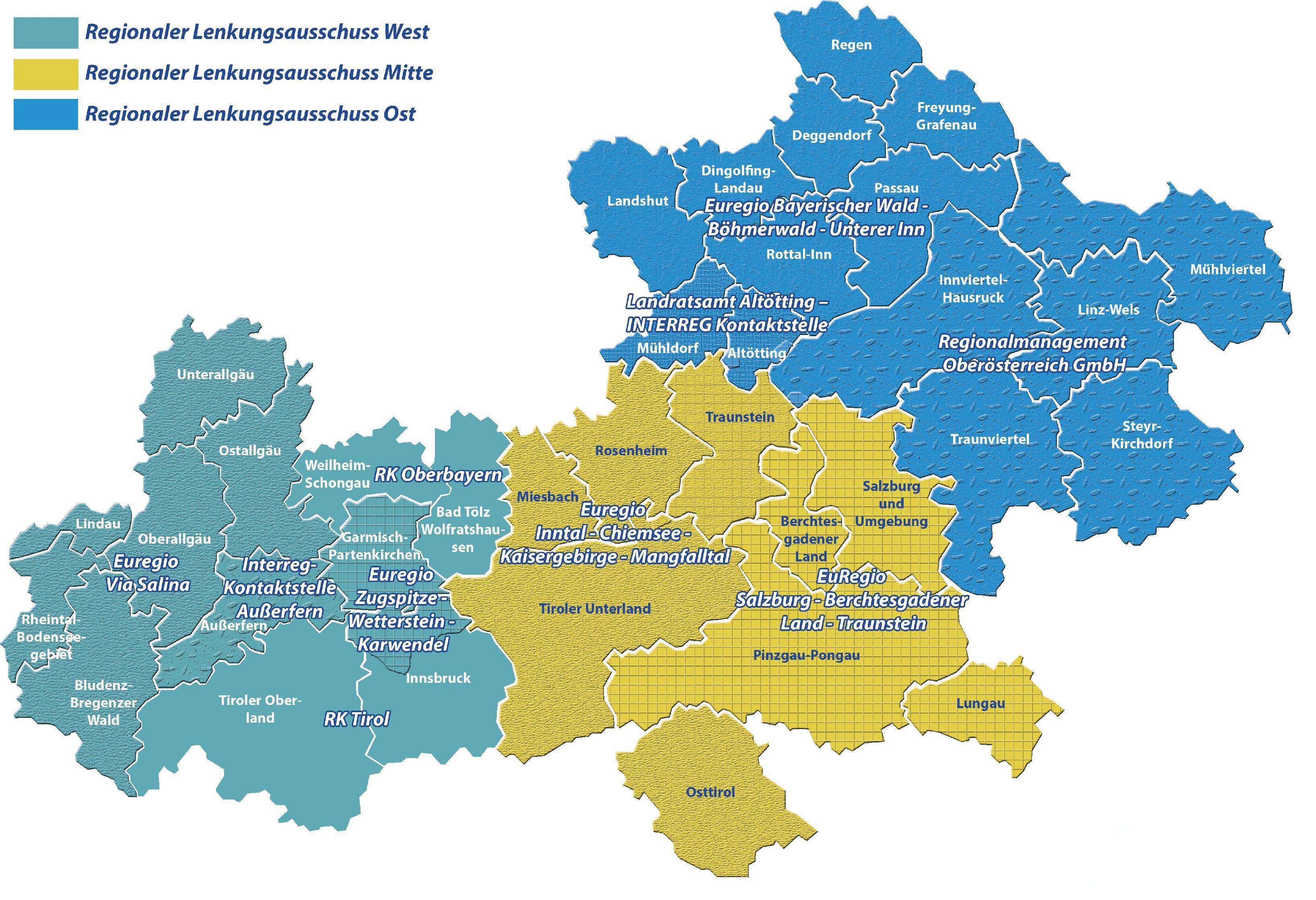 Karte der 3 Regionalen Lenkungsausschüssen. West, Mitte und Ost