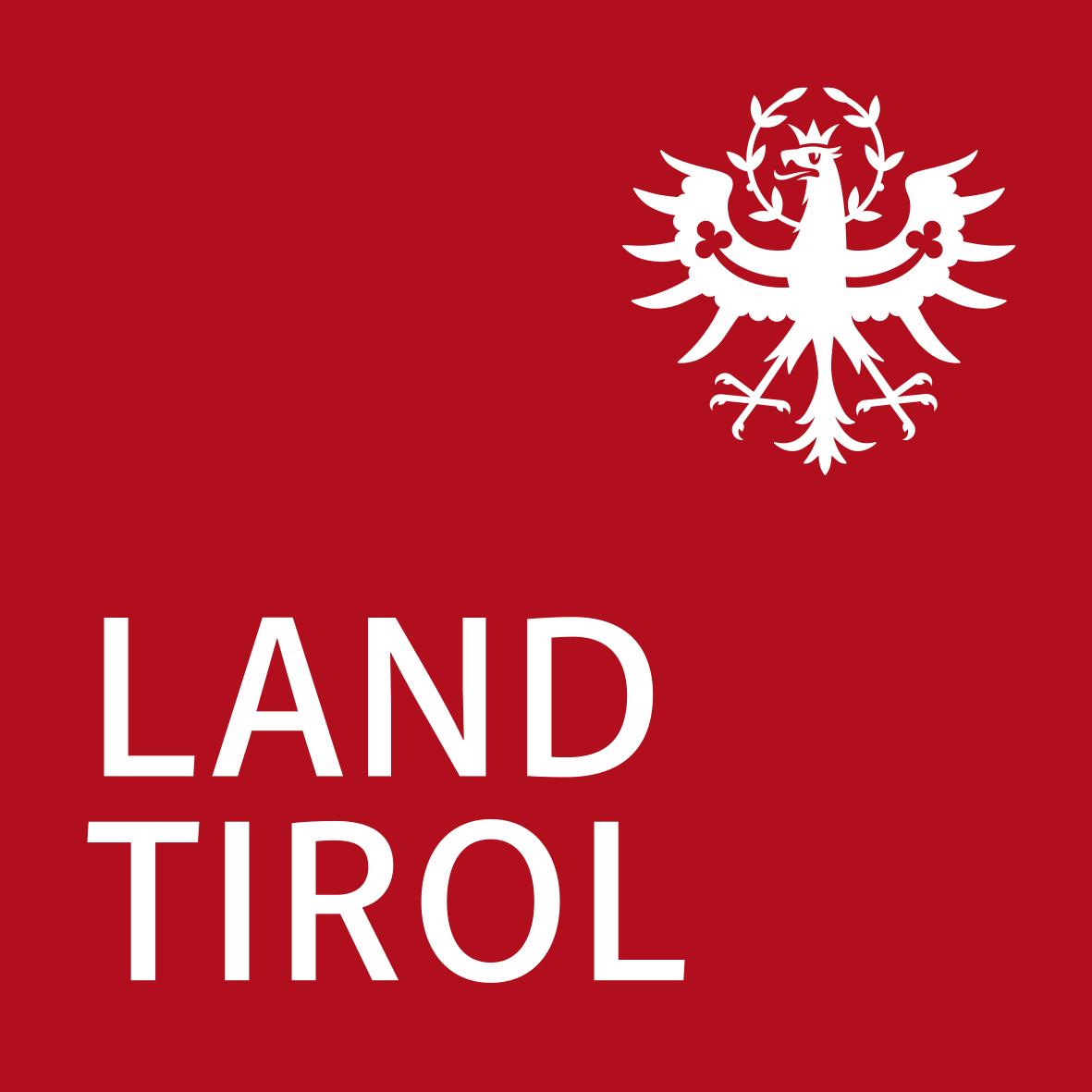 Logo des Landes Tirol mit dem Landeswappen und Text Tirol unser Land