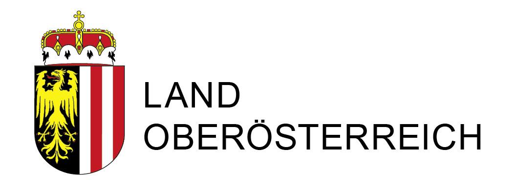 """Landeswappen mit Textzusatz """"Land Oberösterreich"""""""